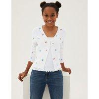 MandS Girls 2pc Flower Embroidered Cardigan Set (6-16 Yrs) - 6-7 Y - Light Cream, Light Cream