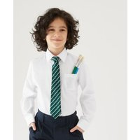 M&S Boys 2pk Boys' Non-Iron School Shirts (2-18 Yrs) - 14-15 - White, White,Blue