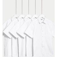 MandS Boys Boys 5pk Regular Fit Easy to Iron School Shirts (2-18 Yrs) - 3-4 Y - White, White