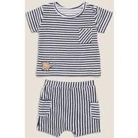 MandS Boys 2pc Cotton Towelling Striped Outfit (0-3 Yrs) - 0-3 M - Indigo Mix, Indigo Mix