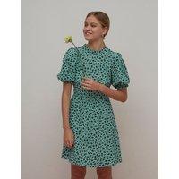 M&S Nobody'S Child Womens Floral Funnel Neck Short Sleeve Mini Tea Dress - 10 - Green Mix, Green Mix