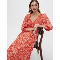 M&S Y.A.S Womens Floral V-Neck Shirred Midaxi Smock Dress - Orange, Orange