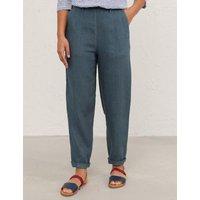 MandS Seasalt Cornwall Womens Pure Linen Straight Leg Trousers - 8 - Blue, Blue