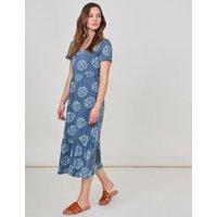 M&S White Stuff Womens Pure Cotton Floral V-Neck Midi Tiered Dress - 8 - Multi, Multi,Blue Mix