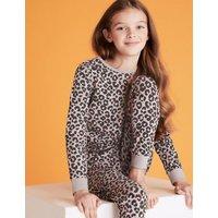 M&S Girls Cotton Leopard Pyjama Set (7-16 Yrs) - 10-11 - Grey Mix, Grey Mix