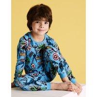 M&S Boys Cotton Marveltm Pyjamas (3-11 Yrs) - 7-8 Y - Multi, Multi