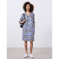 MandS Jaeger Womens Pure Linen Printed V-Neck Dress - 10 - Dark Blue Mix, Dark Blue Mix