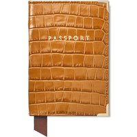 Passport Cover in Deep Shine Vintage Tan Small Croc