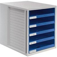 HAN Schubladenbox Schrank-Set blau DIN C4 mit 5 Schubladen