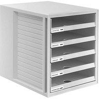 HAN Schubladenbox Schrank-Set lichtgrau DIN C4 mit 5 Schubladen