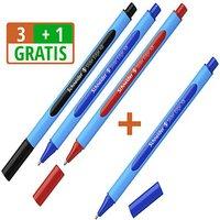 3+1 GRATIS: 3 Schneider Kugelschreiber Slider Edge blau Schreibfarbe farbsortiert + GRATIS 1 Kugelschreiber Slider Edge blau