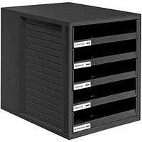 HAN Schubladenbox Schrank-Set schwarz DIN C4 mit 5 Schubladen