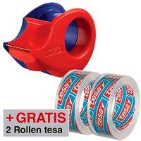 AKTION: tesa Klebefilmabroller Mini-Abroller rot/blau + GRATIS 2 Rollen tesafilm Kristall-Klar, 10,0 m x 15,0 mm (LxB)