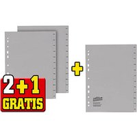 2+1 GRATIS: office discount Ordnerregister Vollformat Dez.-Jan. grau 12-teilig, 2 Satz + GRATIS 1 Satz