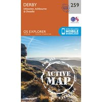 Image of Derby, Uttoxeter, Ashbourne and Cheadle: (OS Explorer Active Map 259 September 2015 ed)