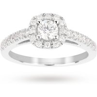 shop for Brilliant cut 0.65 total carat weight diamond halo ring w ... at Shopo