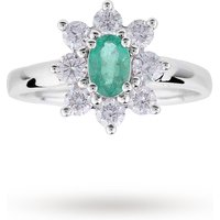 shop for Emerald and Diamond Cluster Ring in 18 Carat White Gold - Ring Size J at Shopo