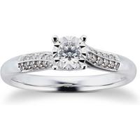 9 Carat White Gold 0.25 Carat Diamond Twist Engagement Ring - Ring Size O