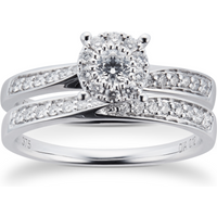 9ct White Gold Multistone Diamond Bridal Set - Ring Size Q