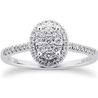 shop for 9ct White Gold 0.33ct Diamond Multi Stone Halo Oval Cut Ring - Ring Size K at Shopo