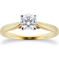 18ct Yellow Gold Brilliant Cut 0.70 Carat 88 Facet Diamond Ring - Ring Size N