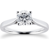Platinum Brilliant Cut 1.00 Carat 88 Facet Diamond Ring - Ring Size Q