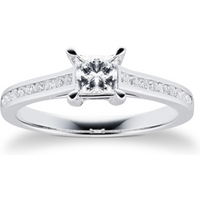 shop for 18ct White Gold Princess Cut 0.65 Carat 88 Facet Diamond Ring - Ring Size L at Shopo