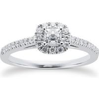 18ct White Gold Princess Cut 0.40 Carat 88 Facet Diamond Ring - Ring Size O