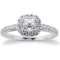 18ct White Gold Princess Cut 0.65 Carat 88 Facet Diamond Ring - Ring Size N
