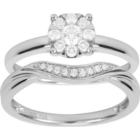 Image of 9ct White Gold 0.50ct Cluster Bridal Set - Ring Size O