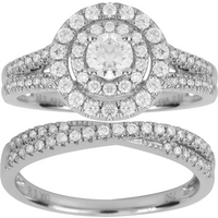 shop for 18ct White Gold 1.00ct Double Halo Bridal Set - Ring Size M at Shopo