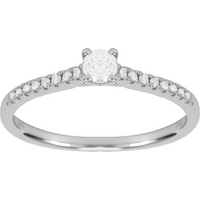 shop for 9ct White Gold 0.38cttw Diamond Claw Set Engagement Ring - Ring Size K at Shopo