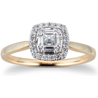 9ct Yellow Gold 0.25cttw Diamond Round Cluster Ring - Ring Size P