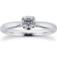 9ct White Gold 0.30ct Diamond Illusion Ring - Ring Size J