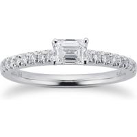 9ct White Gold 0.55ct Diamond Horizontal Emerald Engagment Ring - Ring Size K