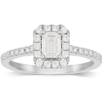 Platinum 0.80cttw Diamond Emerald Cut Halo Engagement Ring - Ring Size P