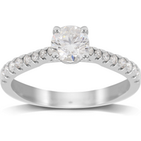 shop for 18ct White Gold 0.85ct Diamond Solitaire with Diamond Set ... at Shopo