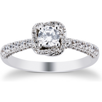 9ct White Gold 0.75cttw Diamond Flower Halo Ring - Ring Size P