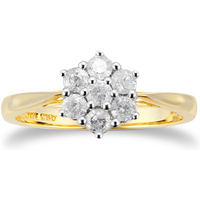9ct Yellow Gold 0.50cttw Diamond Cluster Ring - Ring Size P
