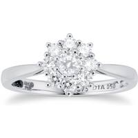 9ct White Gold 0.50cttw Diamond Cluster Ring - Ring Size I