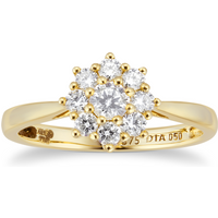9ct Yellow Gold 0.50cttw Diamond Cluster Ring - Ring Size O