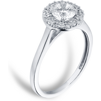18ct White Gold 1.00cttw Diamond Halo Ring - Ring Size P
