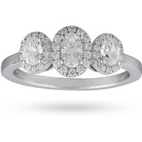 shop for Oval Cut Three Stone 0.85ct Diamond Ring In 18 Carat White Gold - Ring Size M at Shopo