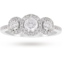 shop for 18ct White Gold Halo Brilliant Cut Three Stone 0.50ct Diamond Ring - Ring Size N at Shopo