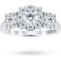 Image of 18ct White Gold 1.00 Carat Total Weight Diamond Three Stone Ring - Ring Size O