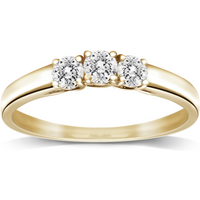 Image of 18ct Yellow Gold 0.50ct Brilliant Cut Diamond Three Stone Ring - Ring Size N
