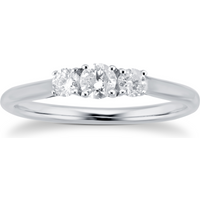 9ct White Gold 0.25cttw Three Stone Diamond Ring - Ring Size P