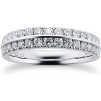 9ct White Gold 0.75cttw Multi Row Diamond Ring - Ring Size J
