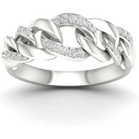 9ct White Gold 0.15cttw Alternate Link Stacker Ring - Ring Size M