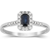 9ct White Gold Sapphire Emerald Cut Halo Ring - Ring Size J